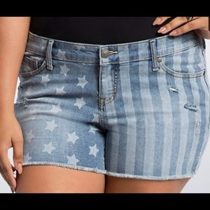 Torrid Denim Shorts American Flag Sz 28